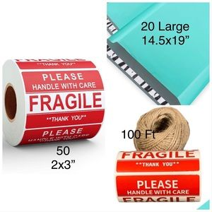 3/$15❗️Fragile Stickers, Jute, Large Teal Mailers